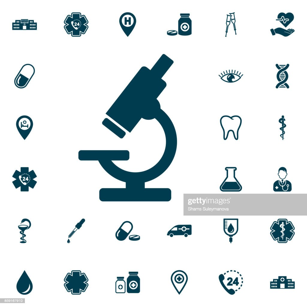 Microscope icon, medical set on white background. Vector illustration. Isolated