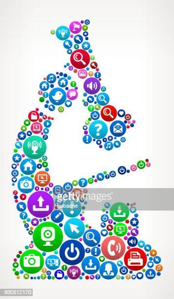 Microscope Internet Communication Technology Icon Pattern