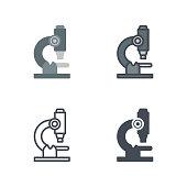 Microscope medicine vector flat line silhouette colored icon