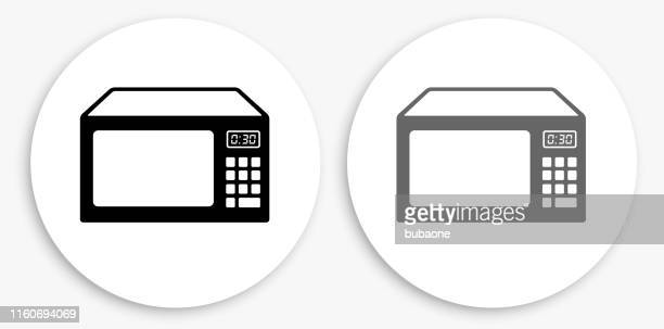 Microwave Black and White Round Icon