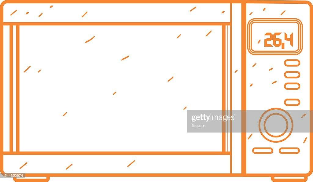 Mikrowelle Und Symbolumriss Zeichnen Kuchenutensilien Kochen Ausstattung Stock Illustration Getty Images