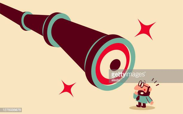 mid adult businessman is being watched by a big hand-held telescope with eyes - surveillance stock illustrations