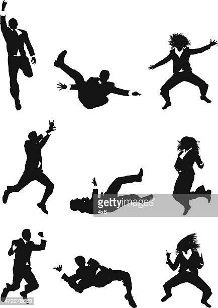 mid air action businesspeople jumping - multiple image stock illustrations, clip art, cartoons, & icons