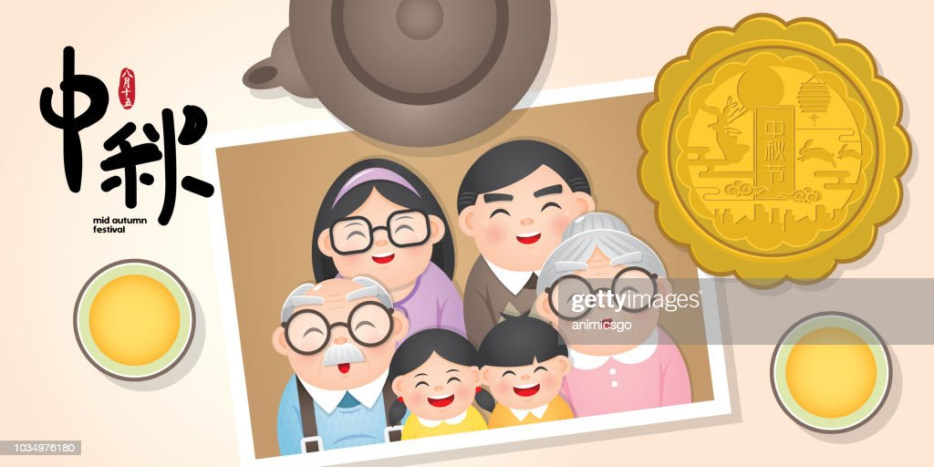 Mid autumn festival or Zhong Qiu Jie banner illustration with happy family photo, moon cake & tea. Caption: 15th august ; happy mid-autumn reunion