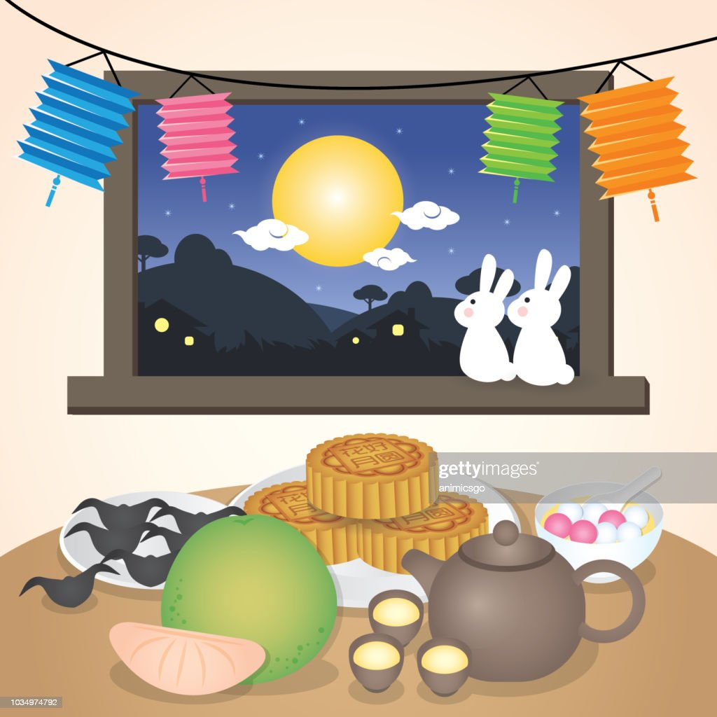Mid autumn festival or Zhong Qiu Jie illustration with traditional festival food. Caption: 15th august ; happy mid-autumn