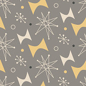 Mid century modern seamless pattern. 1950s vintage style atomic science background, retro vector illustration.