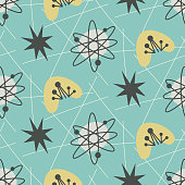 Mid century modern seamless pattern