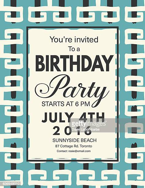 Mid Century Modern Style Background With Birthday Invitation
