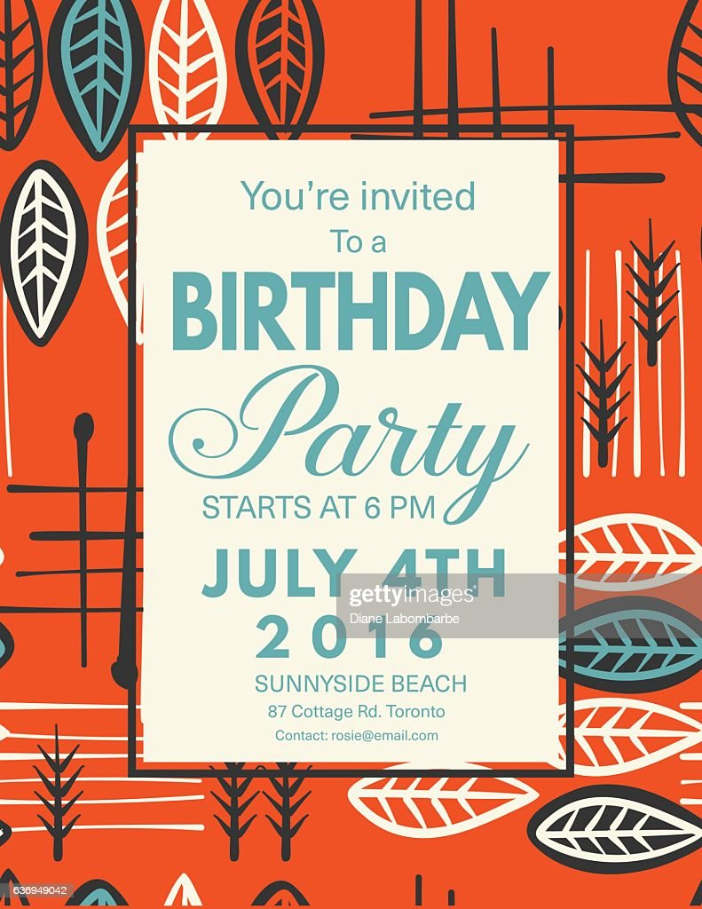 Mid century modern style background with birthday invitation vector mid century modern style background with birthday invitation vector art stopboris Image collections