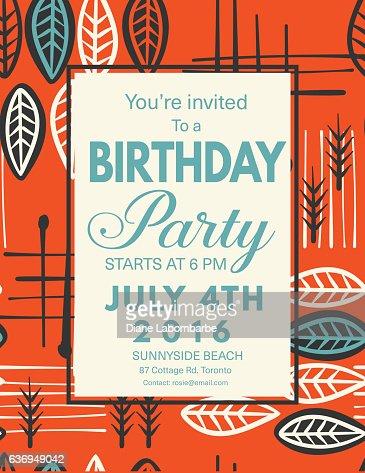 Vector Papel Picado Flags Birthday Invitation Template Vector Art - Birthday invitation background vector