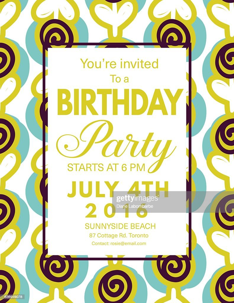 Mid century modern style background with birthday invitation vector mid century modern style background with birthday invitation vector art stopboris Images