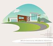 mid century modern style house. retro vector illustration