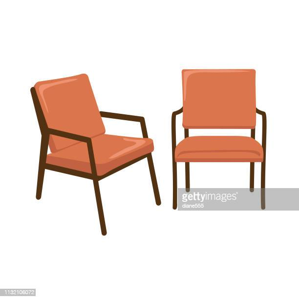 mid-century modern lounge chair - chair stock illustrations