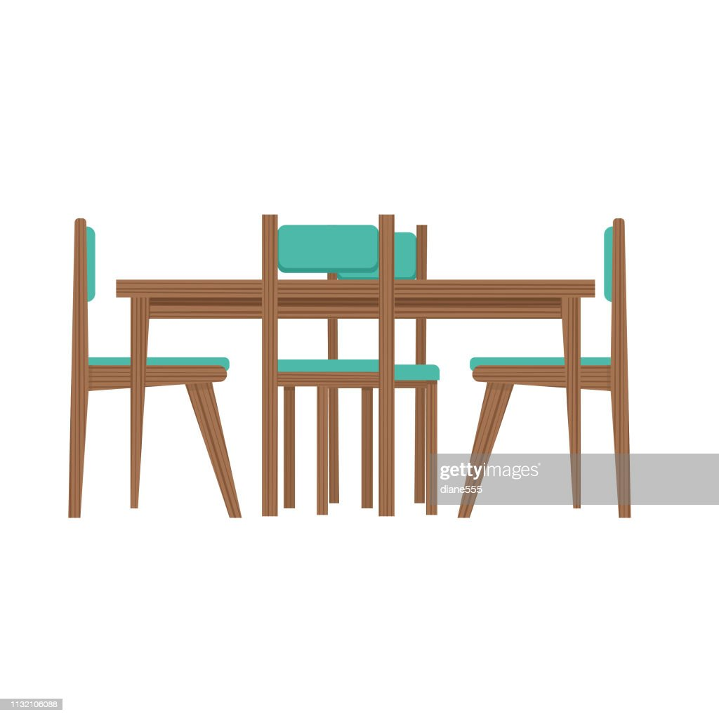 Midcentury Modern Table And Chairs High Res Vector Graphic