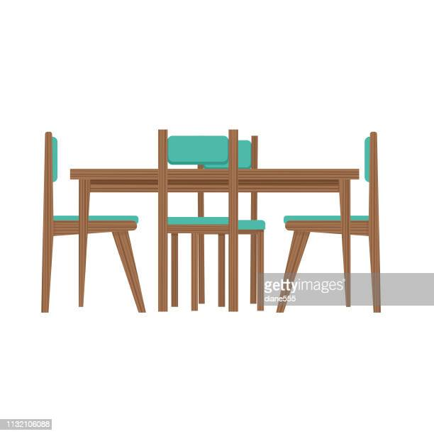 mid-century modern table and chairs - furniture stock illustrations, clip art, cartoons, & icons