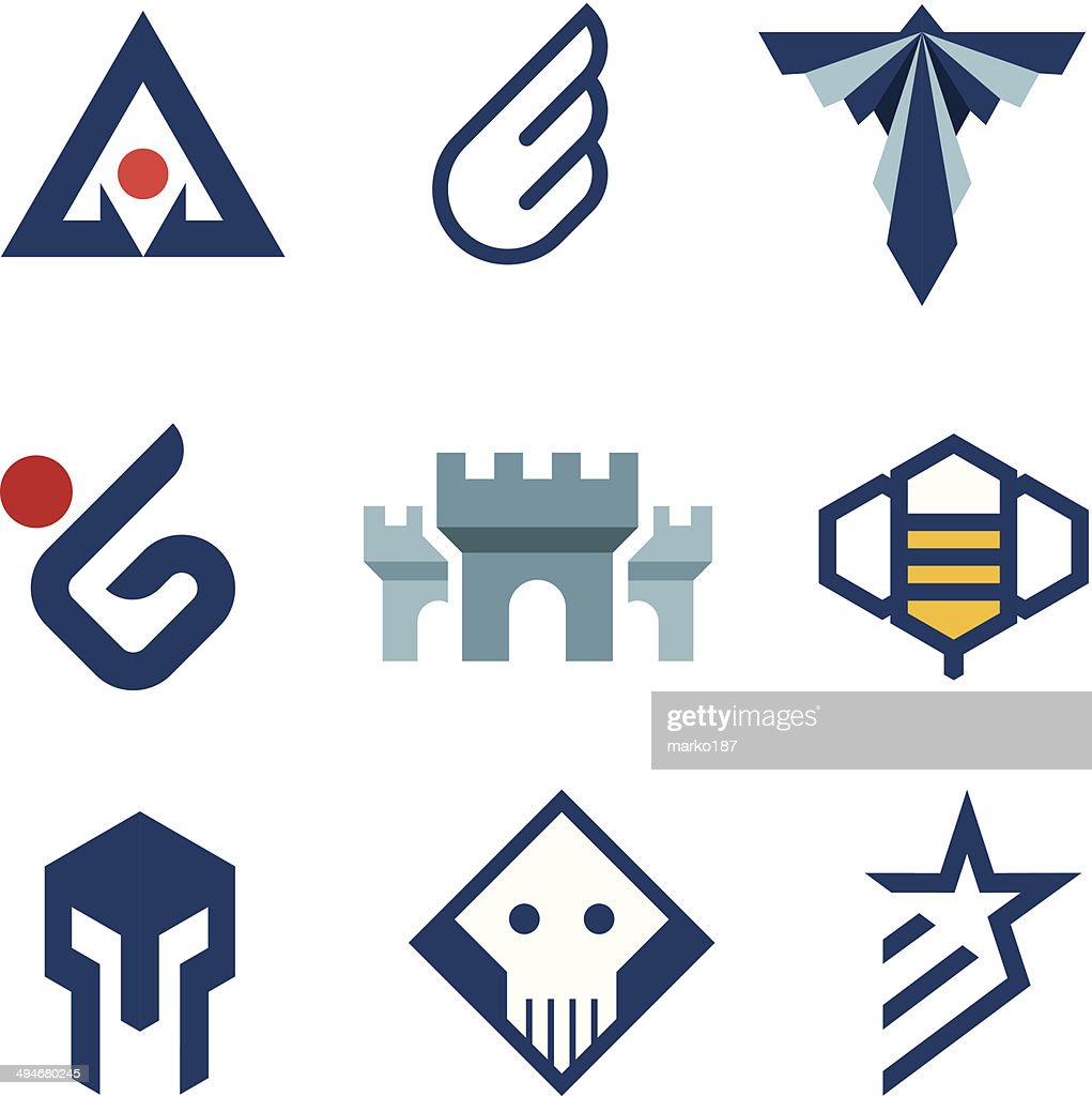 Middle age history style logo castle symbol of strength icon