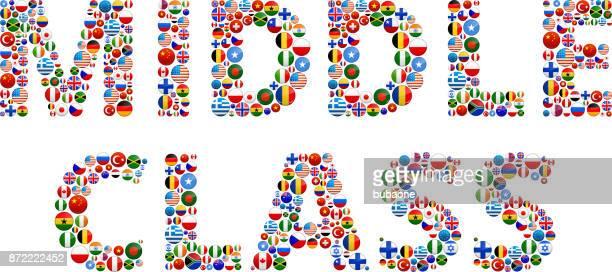 中流階級の世界の旗ベクトル ボタン - 中流階級点のイラスト素材/クリップアート素材/マンガ素材/アイコン素材