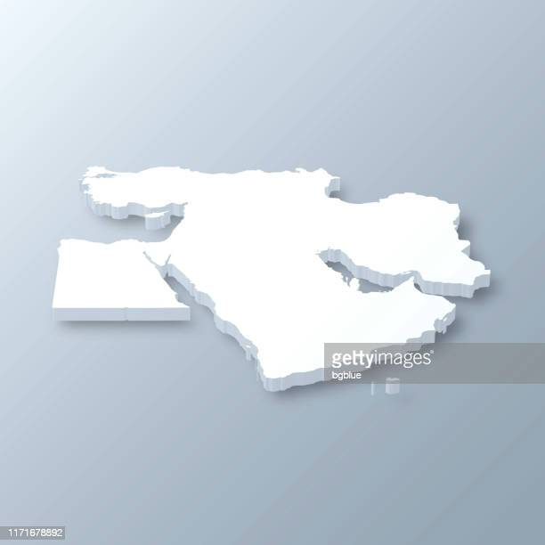 middle east 3d map on gray background - gulf countries stock illustrations