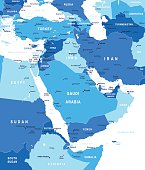 Middle East and Asia - map - illustration