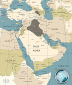 Middle East And West Asia Map Old Colors