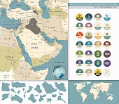 Middle East And West Asia Map Retro Colors