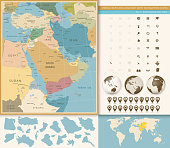 Middle East And West Asia Map Vintage Colors