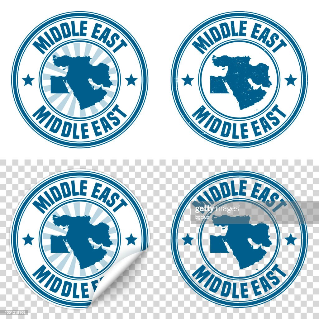 Middle East - Blue sticker and stamp with name and map