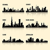 Middle East cities vector set