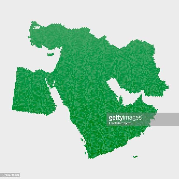 Nahost-Land-Map-grünen Sechseck-Muster