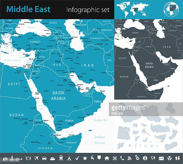 middle east - infographic map - illustration - qatar stock illustrations, clip art, cartoons, & icons