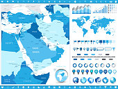 Middle East Map and infographic elements