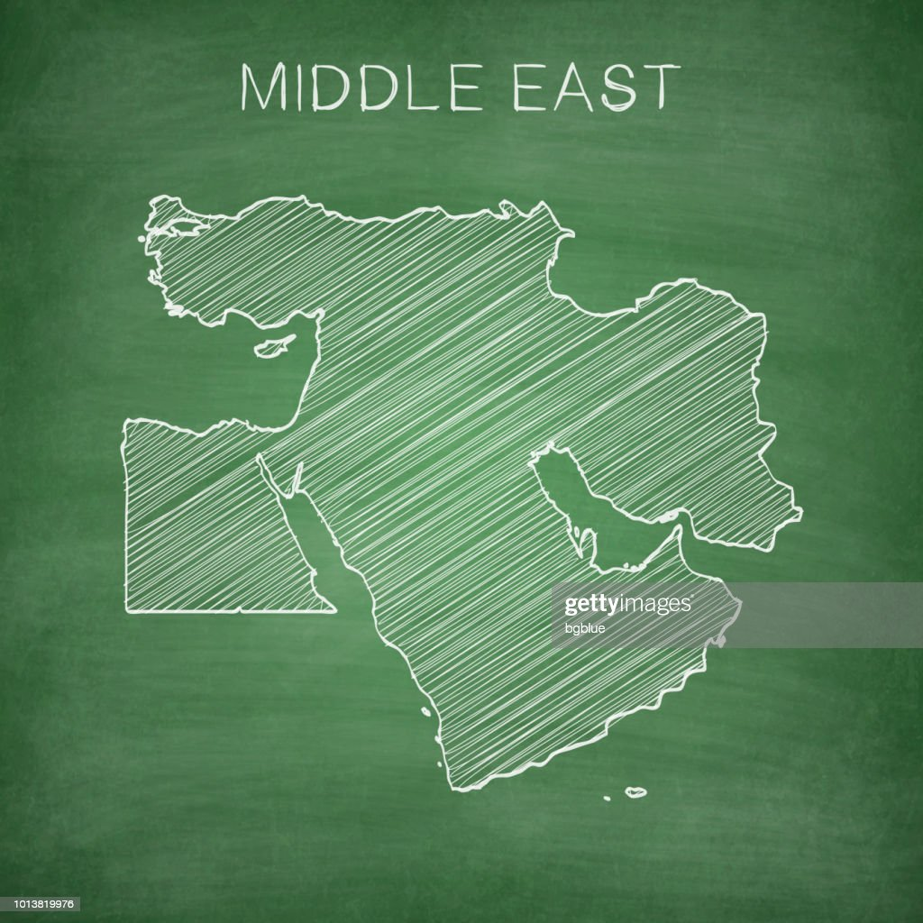 Middle East Map Drawn On Chalkboard Blackboard Vector Art | Getty Images