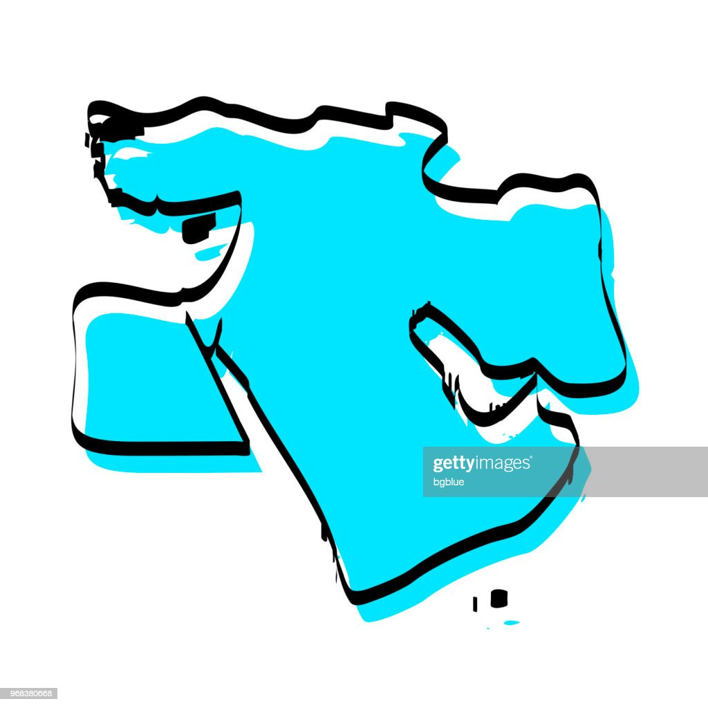 Middle East Map Hand Drawn On White Background Trendy Design Vector ...