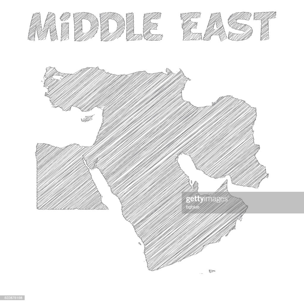 Middle East Map Hand Drawn On White Background Vector Art | Getty Images