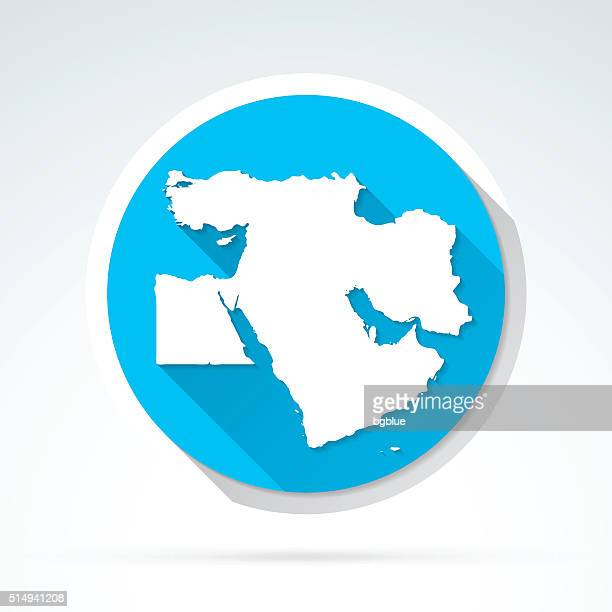 Middle East map icon, Flat Design, Long Shadow