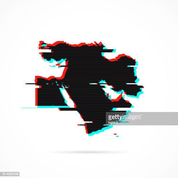 naher osten karte im verzerrten glitch-stil. moderne trendige wirkung - iran stock-grafiken, -clipart, -cartoons und -symbole