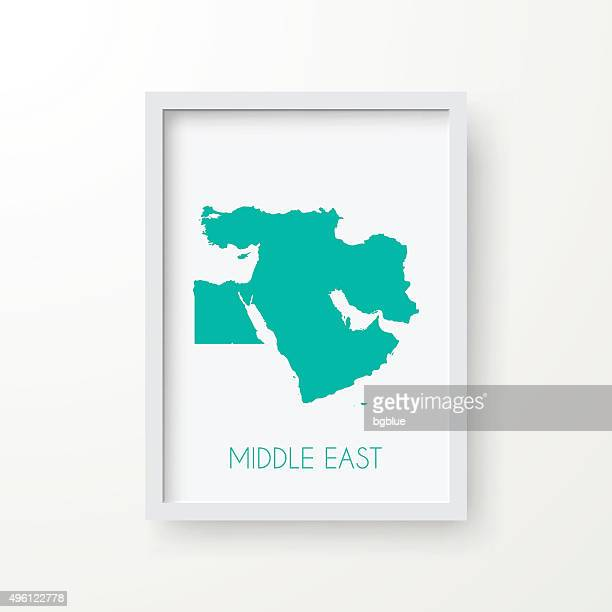 Middle East Map in Frame on White Background