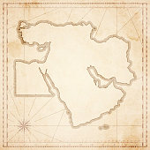 Middle East map in retro vintage style - old textured paper
