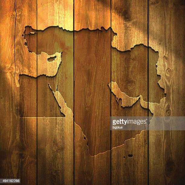 middle east map on lit wooden background - lebanon country stock illustrations, clip art, cartoons, & icons