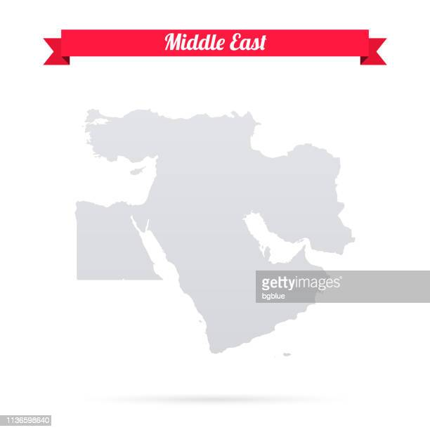 middle east map on white background with red banner - middle east stock illustrations
