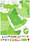 Middle East Map Spot Green Colors and glossy icons