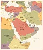 Middle East Map - Vintage Vector Illustration