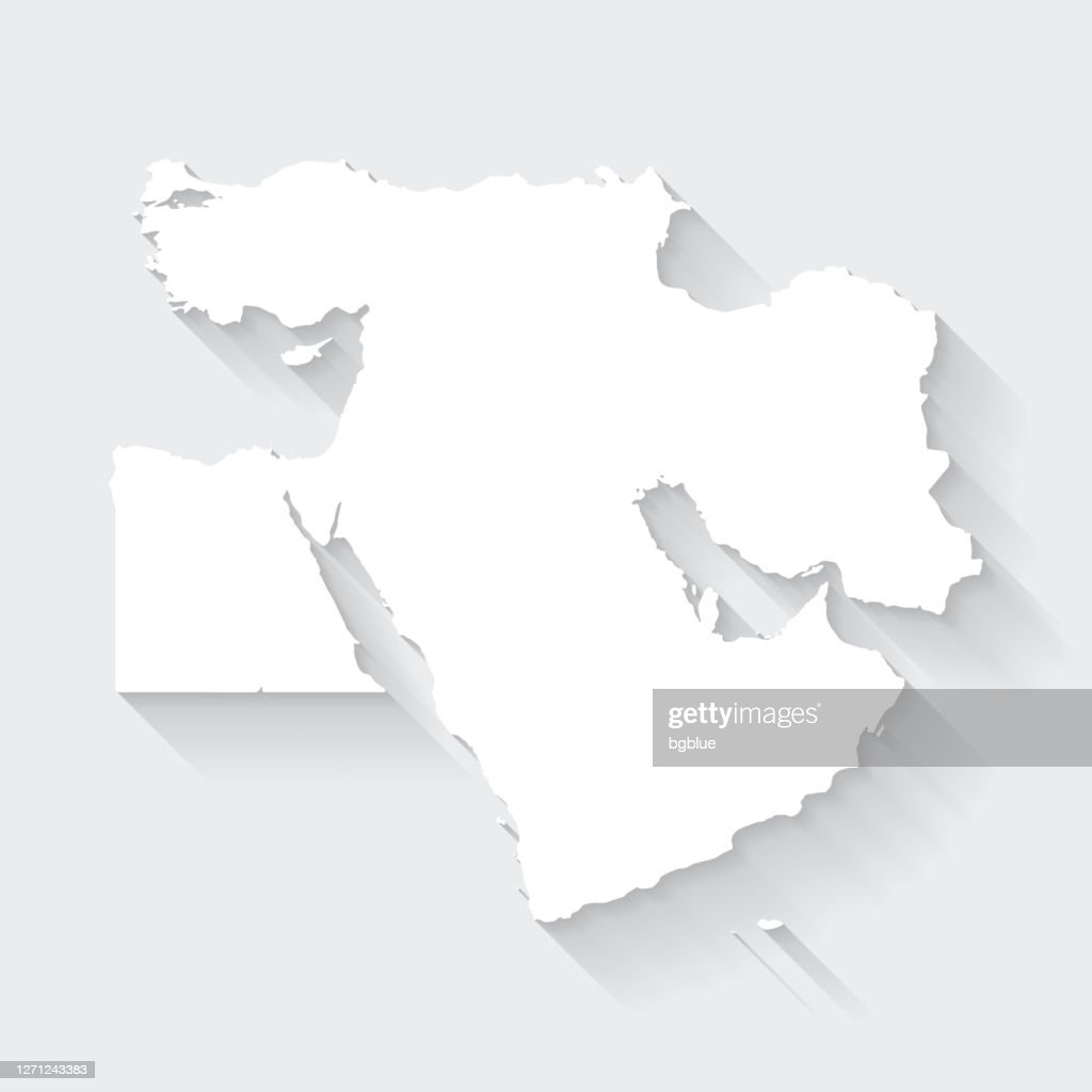Picture of: Middle East Map With Long Shadow On Blank Background Flat Design High Res Vector Graphic Getty Images