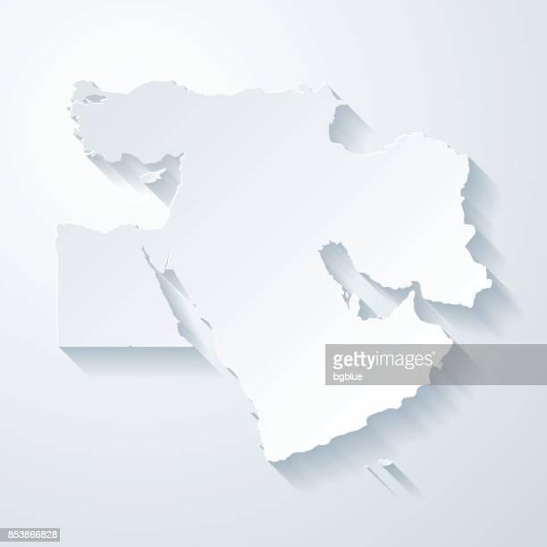 naher osten karte mit papier geschnitten wirkung auf leeren hintergrund - iran stock-grafiken, -clipart, -cartoons und -symbole