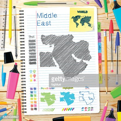 Middle East Maps Hand Drawn On Notebook Wooden Background Vector Art ...