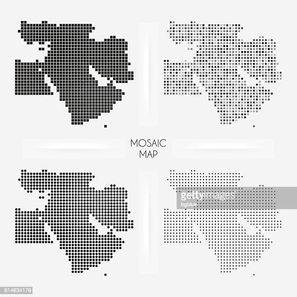 middle east maps - mosaic squarred and dotted - middle east stock illustrations
