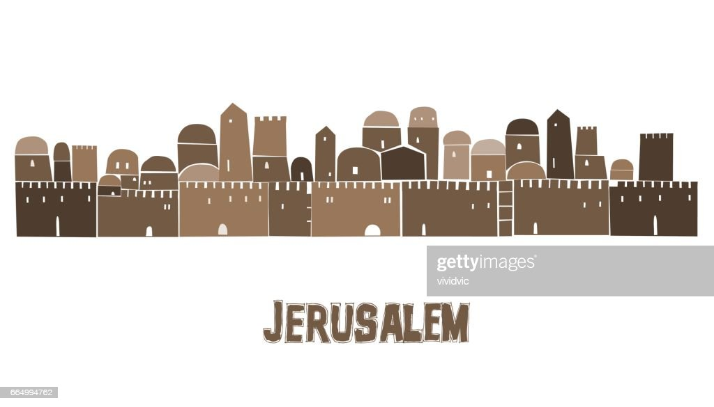 Middle East Town, Holy City, Vector illustration