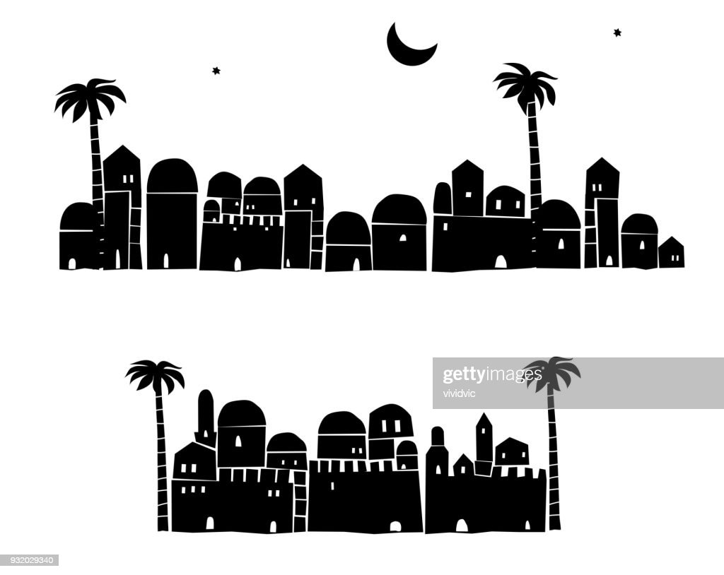 Middle East Town,Old City, Abstract architecture, Historical place,  Vector Illustration