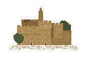 Middle East Town,Old City,  Old Jerusalem, Jewish Passover, Abstract  Vector Illustration
