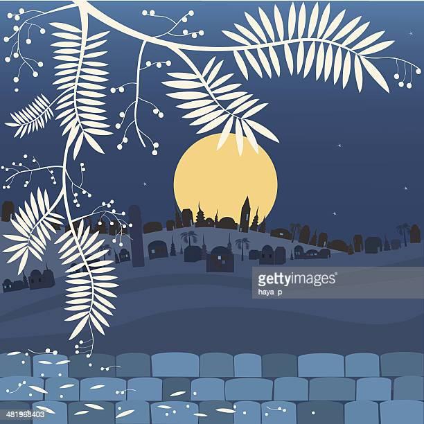 中東の街、満月の夜 - アカシア点のイラスト素材/クリップアート素材/マンガ素材/アイコン素材